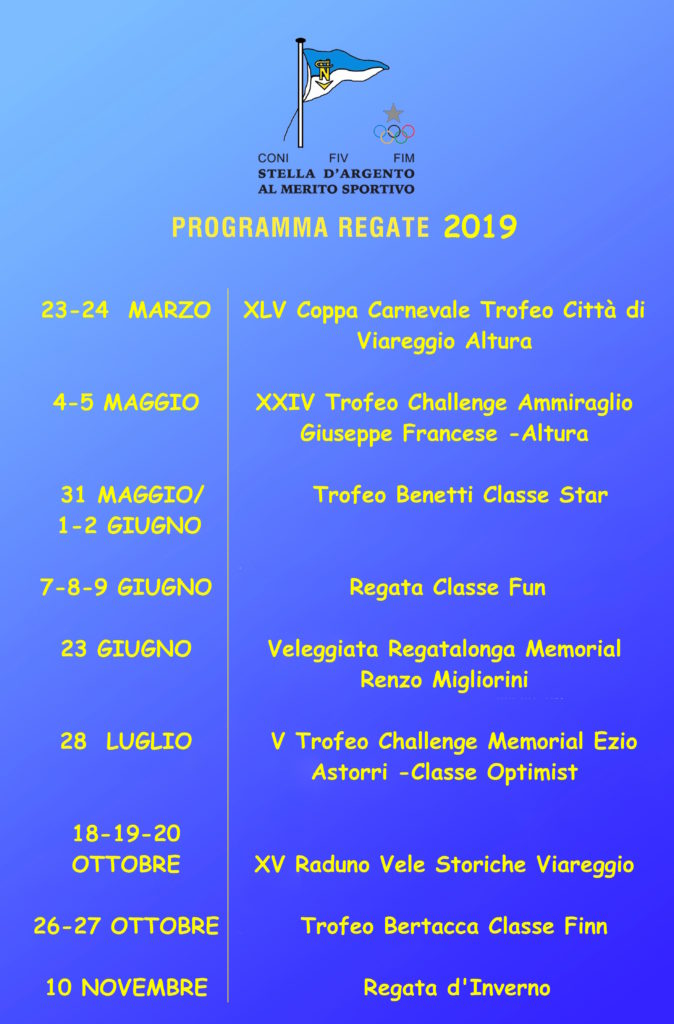 Calendario Regate 2019 Club Nautico Versilia