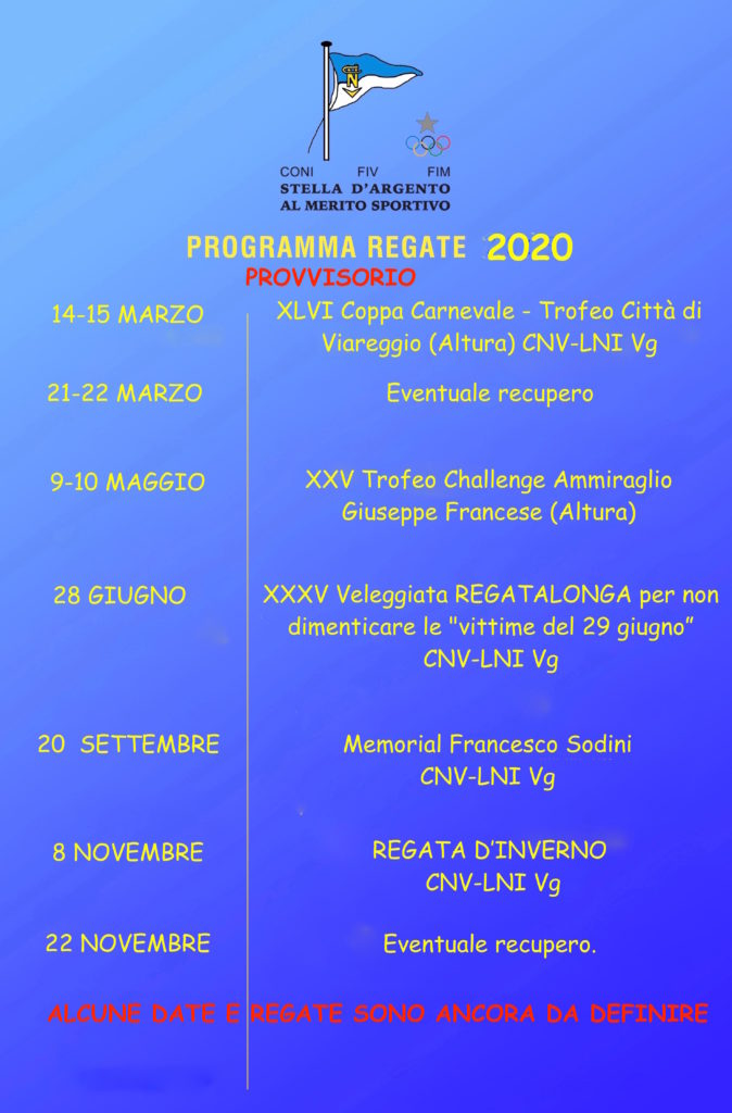 Calendario Agonistico 2020 PROVVISORIO