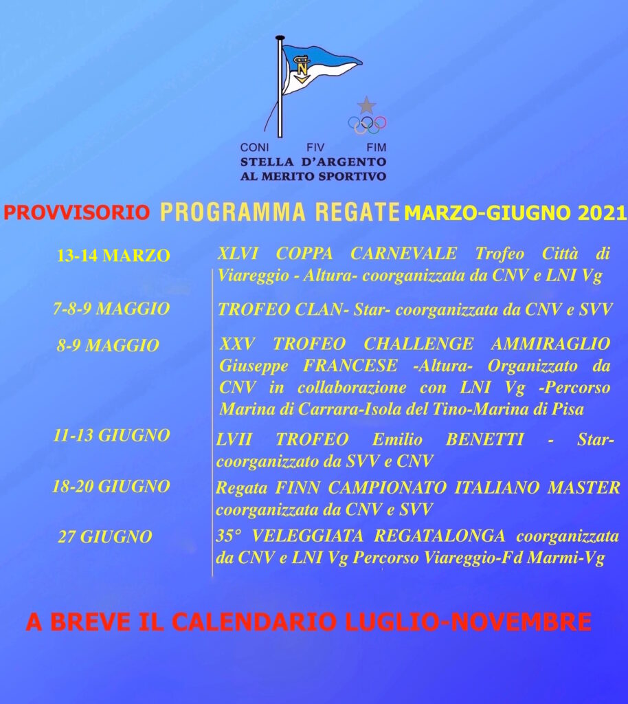 1 Com- Il 2021 del Club Nautico Versilia: ecco gli appuntamenti sino a giugno.